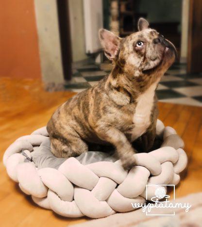 Legowisko dla buldoga francuskiego, legowisko okrągłe, posłane dla psa lub kota, legowisko dla średniego psaLegowisko dla buldoga francuskiego, legowisko okrągłe, posłane dla psa lub kota, legowisko dla średniego psa